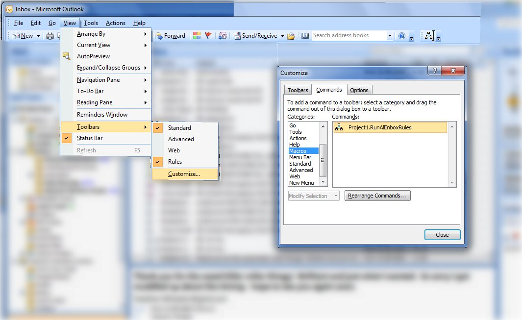 macro setup in outlook 2007