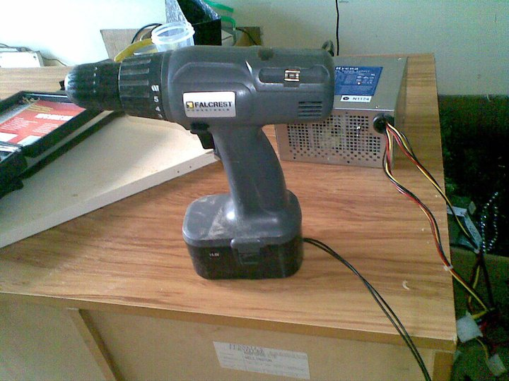 portable drill running off power supply