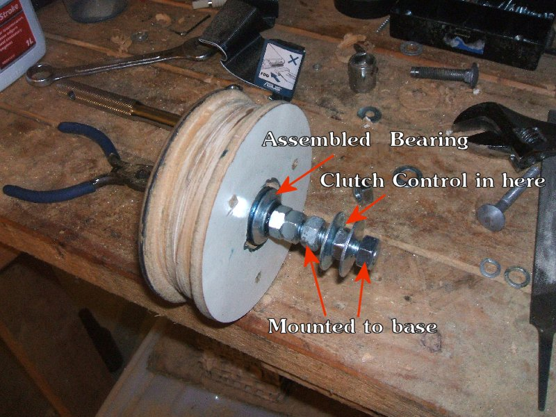 assembled pulley with bearings and various bolts